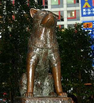 秋田犬ハチの銅像